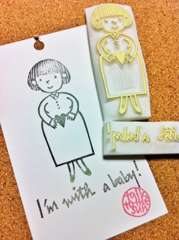 i am with a baby  hand carved rubber stamp  by talktothesun