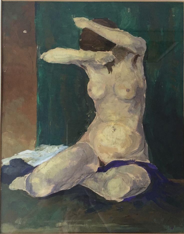 kämmende Frau, Öl auf Papier, Malstil Karl Hofer