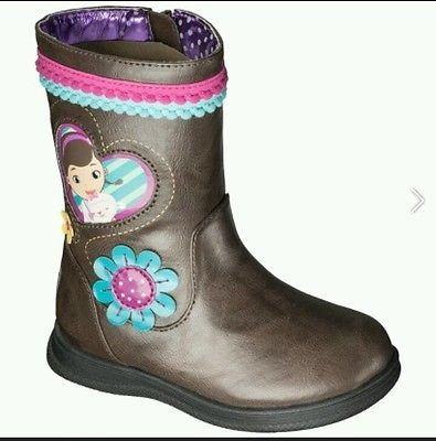 DISNEY DOC MCSTUFFINS GIRL'S BROWN ZIP UP ZIPPER BOOTS SIZE 10 NEW