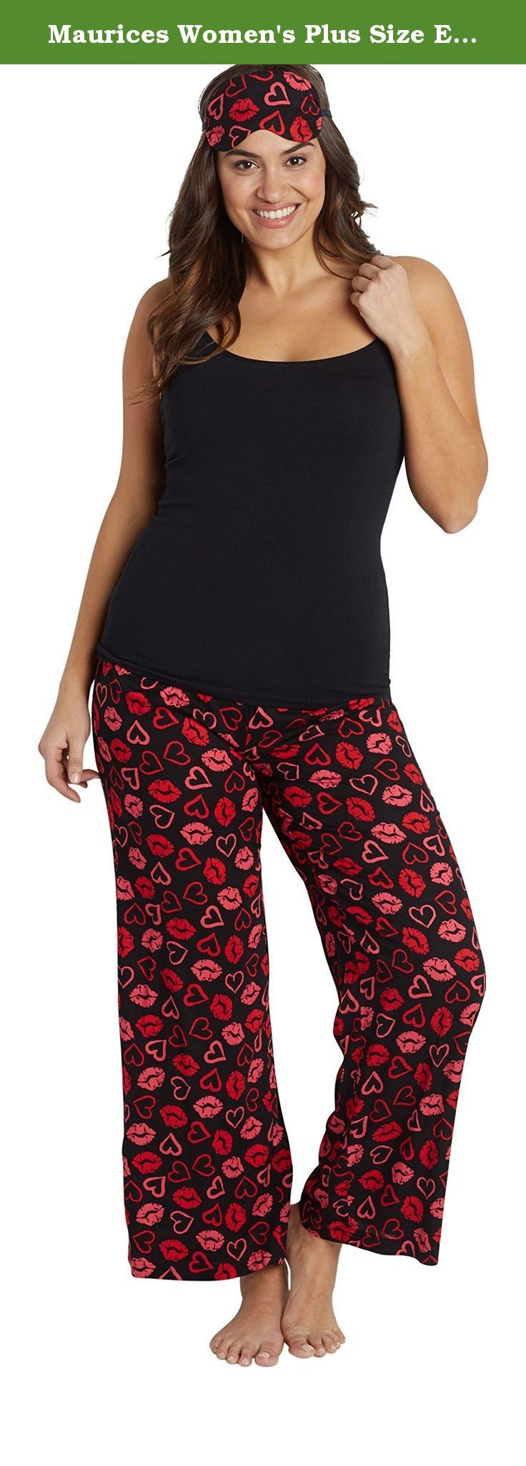 Maurices Women's Plus Size Eye Mask And Lightweight Sleep Pant Set In Lip Print 0 Black Combo. Plus size eye mask and lightweight sleep pant set in lip print. Fabric and care: imported 100% rayon machine wash.