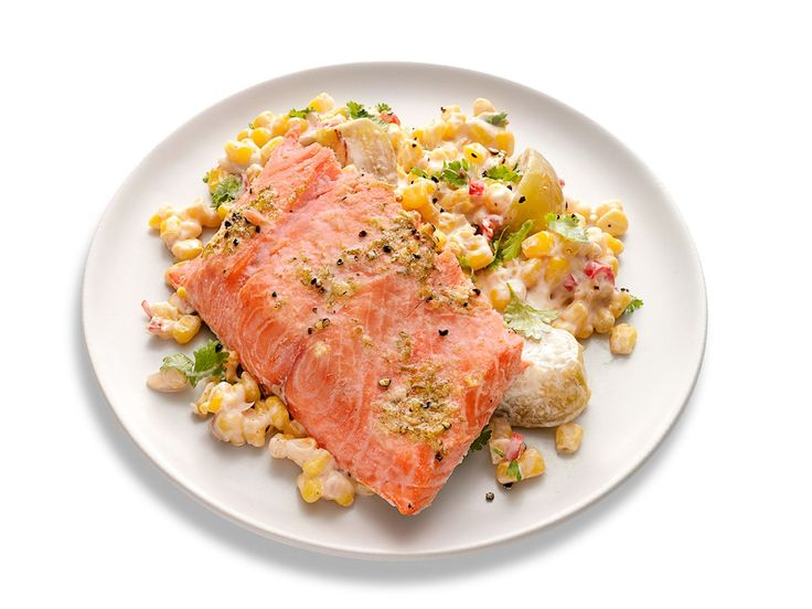 Slow-Roasted Salmon with Mexican Creamed Corn recipe from Food Network Kitchen. You can use frozen fillets, just up the oven temp to 300. This would be nice on a hot summer's day, and it didn't turn out half bad for my first time making it. Note's below.