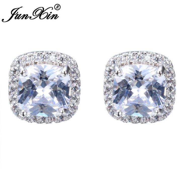 Junxin luxe vrouwelijke witte vierkante stud oorbel mode 925 sterling zilver gevuld dubbele oorbellen voor vrouwen nieuwjaar cadeaus