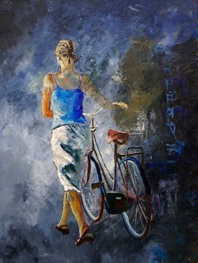 """Pol Ledent; Painting, """"With the bike"""
