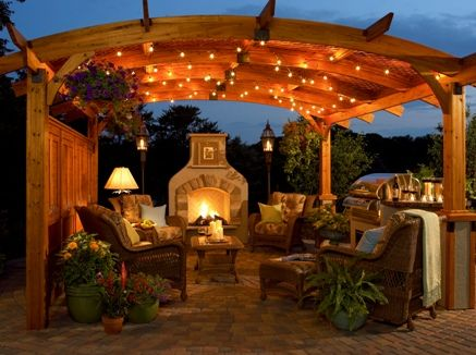 String lights add sparkle and a subtle glow to outdoor spaces at night. The Outdoor GreatRoom® Company http://www.poolspaoutdoor.com/blog/entryid/29/4-ways-to-extend-your-outdoor-living-season.aspx