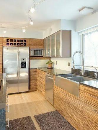 Wood-aluminium-granite kitchen. Clean, natural & simple design