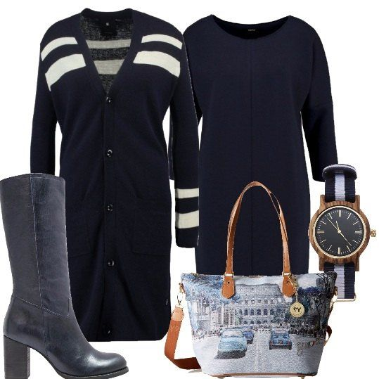 Outfit composto da vestito a maniche lungo blu, maxi-cardigan blu con righe bianche, stivali con tacco grosso blu, borsa week-end Ynot? raffigurante Roma e orologio blu e bianco.