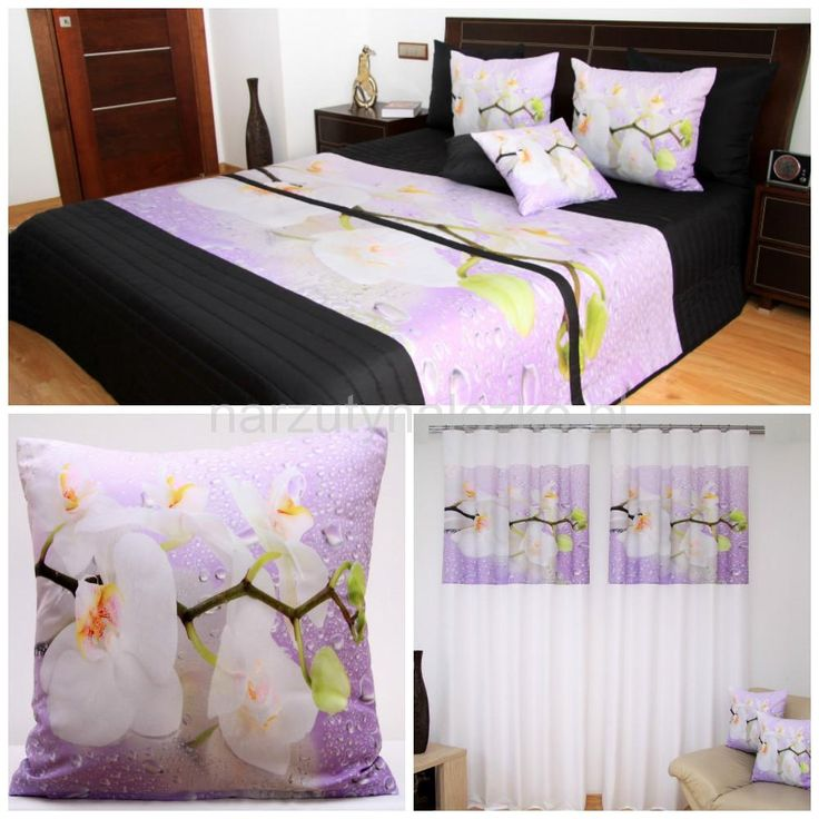 Fioletowe komplety dekoracyjne do sypialni w orchidee