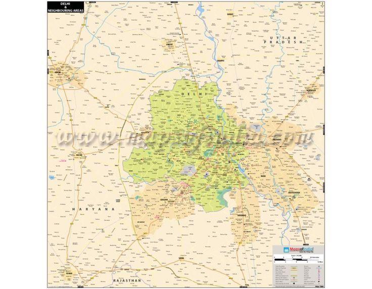 new delhi and neighboring areas digital vector map