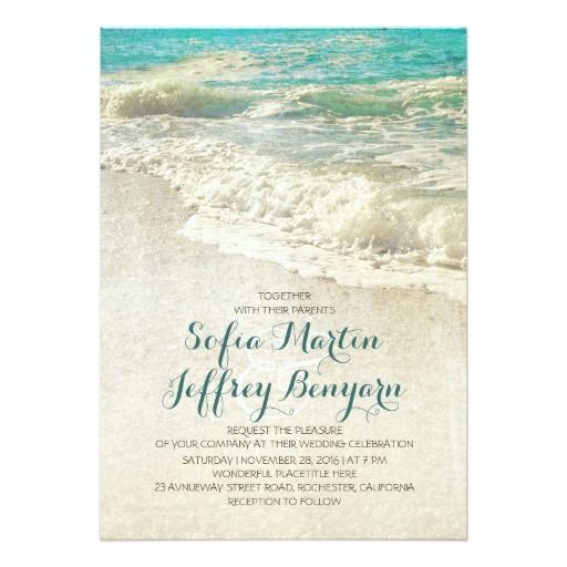 "Vintage beach wedding invitations. Regular price: $2.16 US per 5"" x 7"" card. Save 40% with 100 invites. Visit link to see how much you can save!"