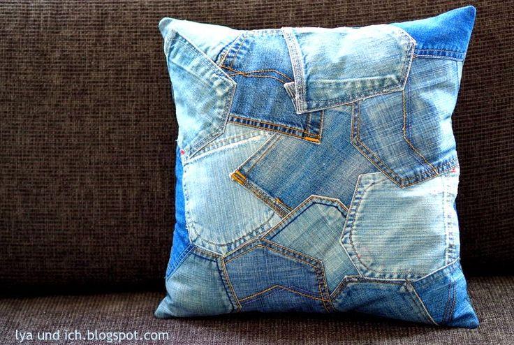Kissen alte Jeanshose Recycling