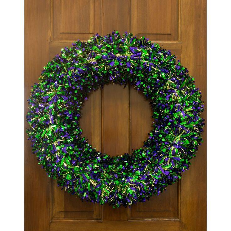 24-inch Metallic Tinsel Mardi Gras Wreath