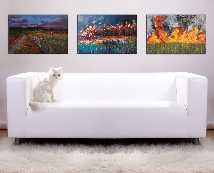 """""""Cane Fires - Complete Triptych Series """" by Deborah Christensen. Paintings for Sale. Bluethumb - Online Art Gallery"""