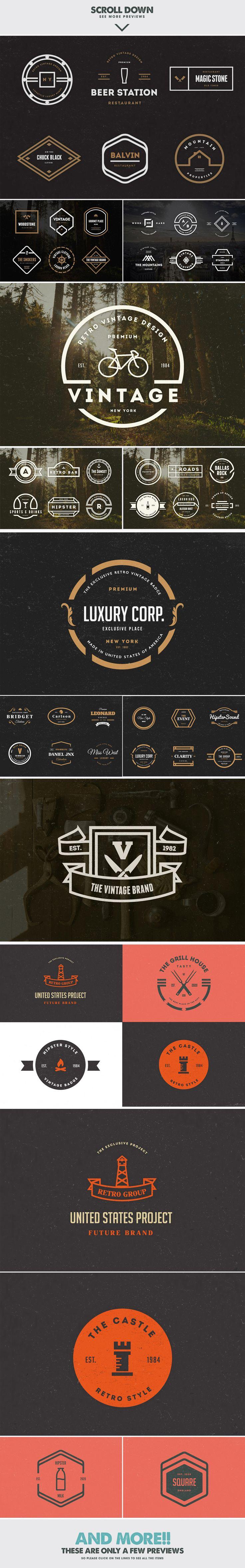 MASSIVE BUNDLE 576 Vintage Logos by DesignDistrict on