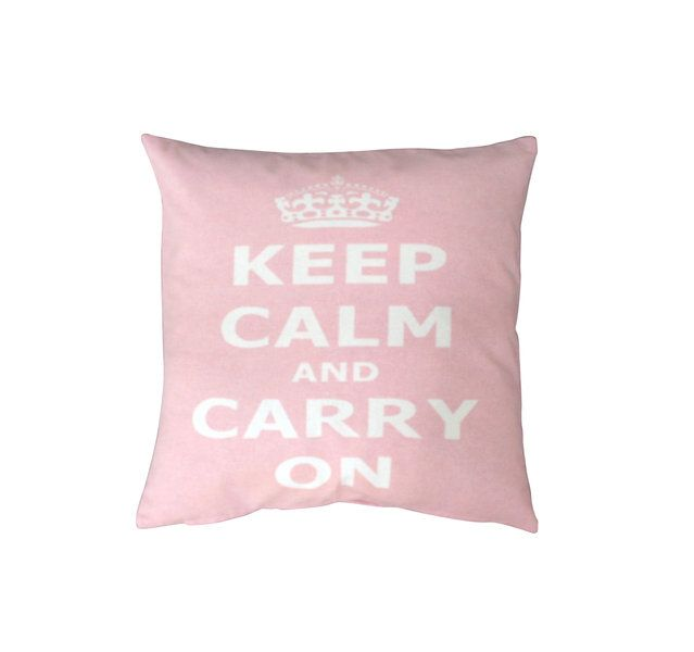 Tyynyliina, Keep calm & carry on, vaaleanpunainen - Emma's & Mama's shop