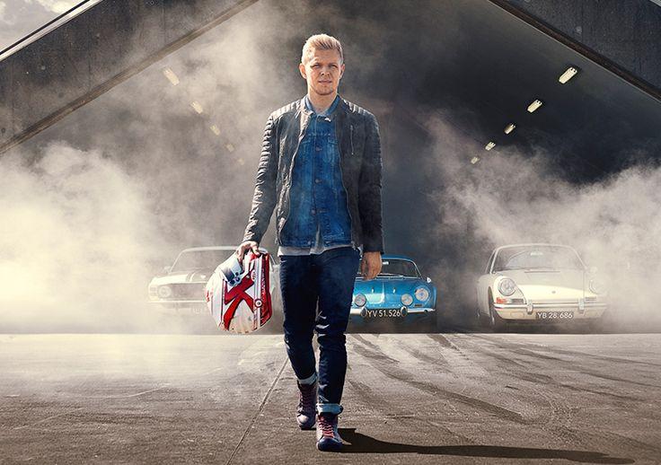Kevin Magnussen for JACK & JONES VINTAGE COLLECTION leather sneakers, slim fit jeans, long-sleeved t-shirt, denim jacket, leather jacket, F1, formulaone
