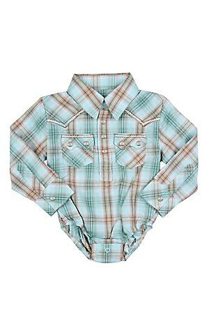 Wrangler® All Around Baby™ Boys Turquoise, Brown and Green Plaid Long Sleeve Western Onesie   Cavender's