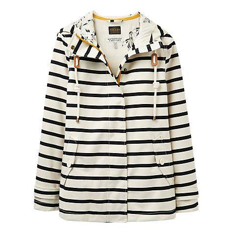 Buy Joules Right as Rain Coast Stripe Waterproof Jacket, Cream/Black Online at johnlewis.com