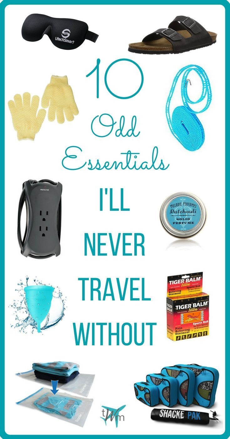 Unsure of what to #pack for your weekend getaway or long-term trip? Check out my list of 10 odd #essentials I'll never #travel without to get some ideas!   #packinglists #packingtips #whattopack #traveltips