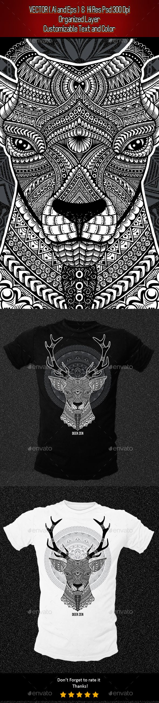 Black t shirt vector ai - Zentangle Deer Illustration Vector Eps Photoshop Psd Ai Illustrator