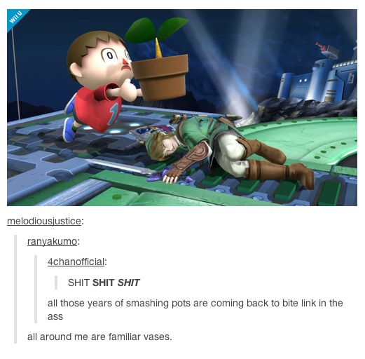 Tumblr, Super Smash Bros., Animal Crossing, Legend of Zelda, and karma