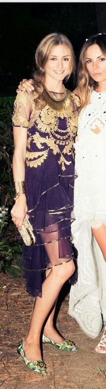 Olivia Palermo in Marchesa purple and gold dress and Dolce&Gabbana green floral shoes