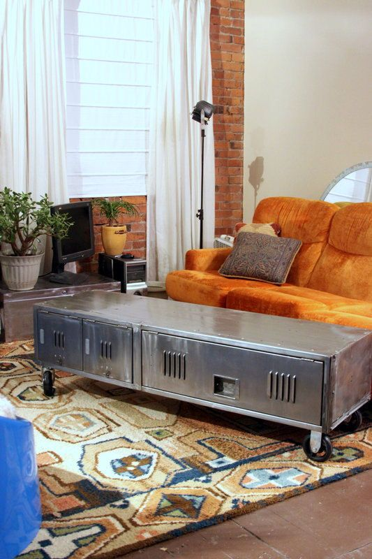 Repurposed #Vintage Industrial Locker Coffee Table - What an awesome #eclectic decor idea! http://stores.ebay.com/Udderly-Good-Stuff