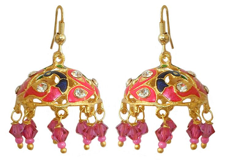 Stone Studded Pink with Green Jhumka Lac Earrings (Lac, Bead and Stone)