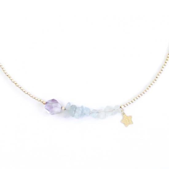 ドリーミーな寒色系の淡い色合いの天然石を集めた、大人ゆめかわいいネックレスです。※着用画像:40cmのところで着けています。他の写真はこちら一緒につけているピアス:「ピアスS(天然石) tomoshibi -アメジスト-」金