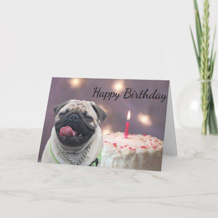 Funny Pug Birthday Card Zazzle Com Pugs Funny Dog Lovers Birthday Funny Birthday Cards