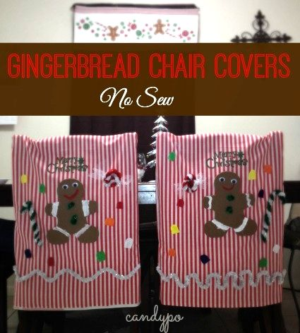 "Gingerbread ""No Sew"" Chair covers made by @Candy O for @mymilitarysavings #craft #holiday #christmas"