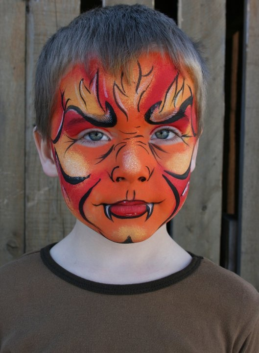 fire beast face paint
