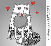 Cute Decorative Cat,  vector illustration. Cat lover , romantic background