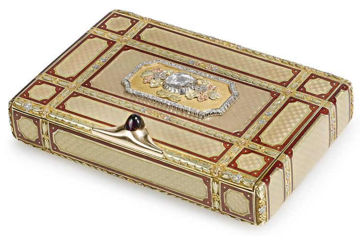 A Russian Diamond-Set Varicolor Gold, Platinum, and Translucent Enamel Presentation Cigarette Case, Carl Blank, St. Petersburg, circa 1900