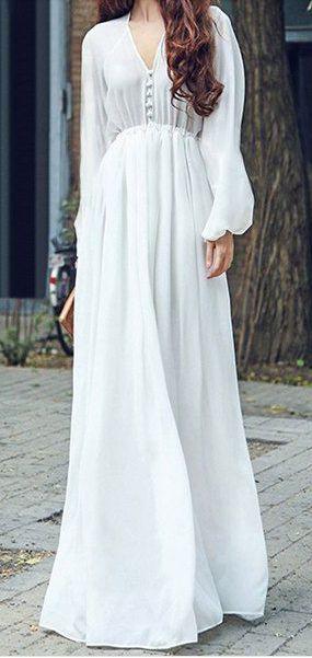 long sleeve flowy chiffon maxi dress