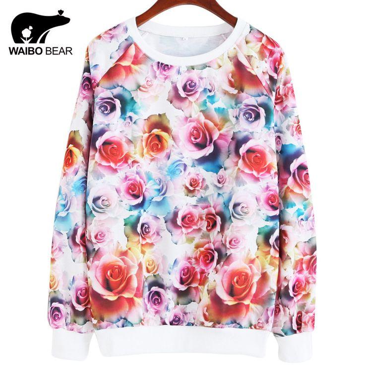 WAIBO BEAR Original design 2016 New Arrival Hoodies & Sweatshirts Women Hoodies thin 3D Big flower Print Sweatshirts sudaderas  #model #love #style #instafashion #swag #dress #sweet #instalike #streetstyle #fashionista