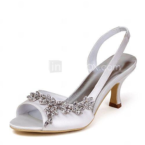 Zapatos de mujer - Tacón Stiletto - Tacones / Talón Descubierto - Sandalias - Boda - Satén / Satén Elástico - Marfil / Blanco / Oro - USD $39.99