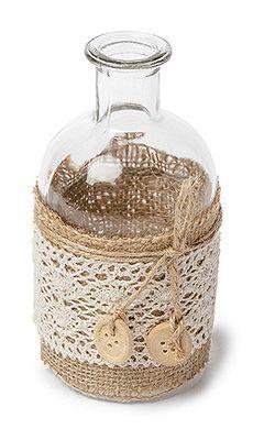 Petite bouteille vase bohème lin et dentelle                                                                                                                                                                                 Plus