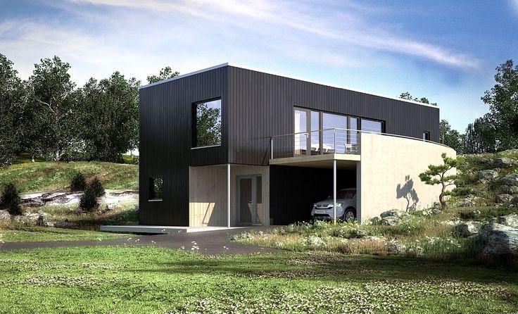 Ura, et funkishus for skrå tomt med carport | Norgeshus