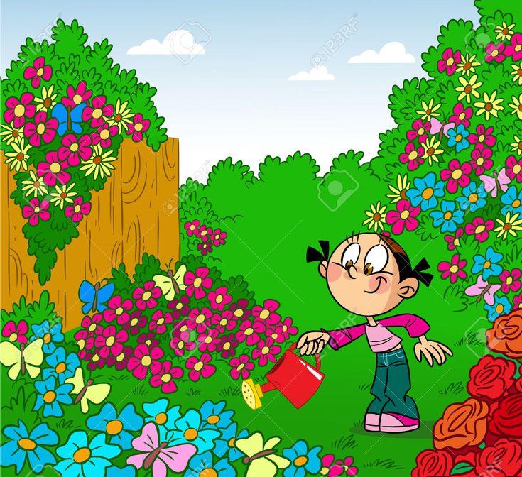 Chica riega las flores en la lata ilustraci n riego del for Aspersores para riego de jardin