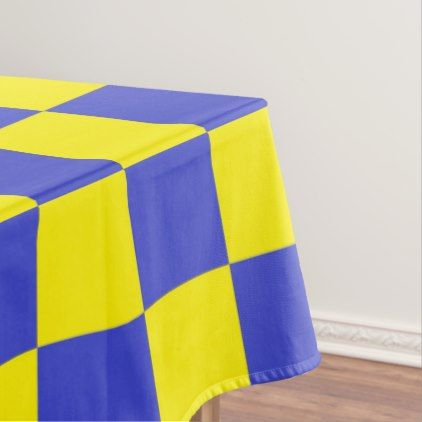 Checkered Blue and Yellow Tablecloth - home gifts ideas decor special unique custom individual customized individualized