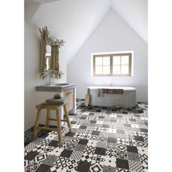 Sol PVC noir et blanc livingstone gatsby noir, ARTENS Textile l.4 m   Leroy Merlin