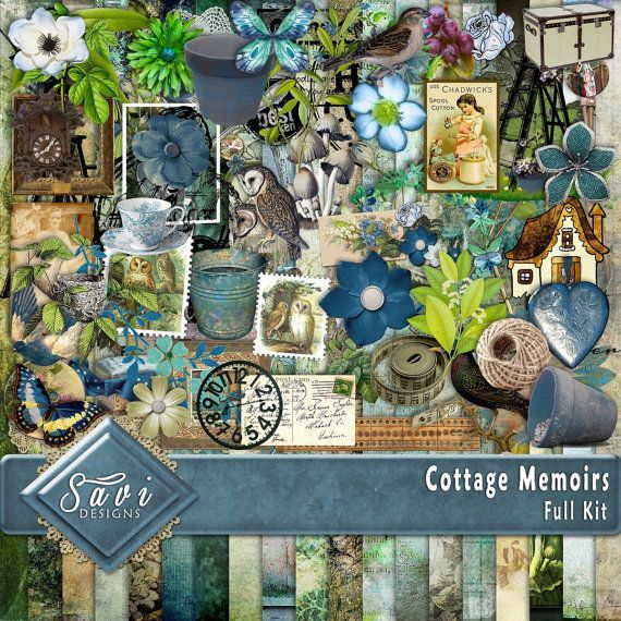 Digital Scrapbooking Kit COTTAGE MEMOIRS grandparents, vintage, and cottage feel, suitable for vintage and modern Scrap Pages  Included in this Kit 19 x BG Papers 79 x Embellishments