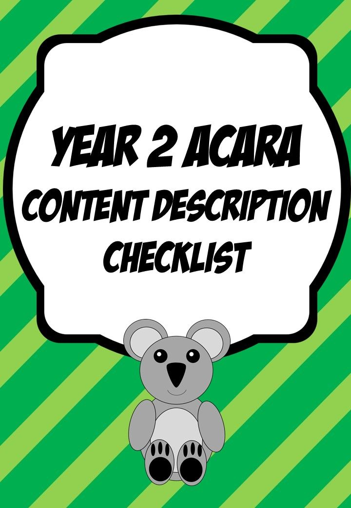 ACARA Year 2 Content Description Checklist