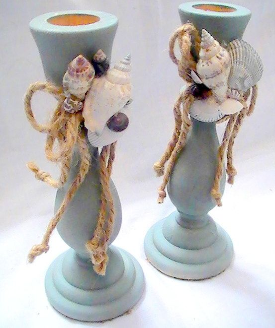 Nautical Candle Holders in blue with shells by CarmelasCreations
