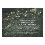 Rustic Tree String Lights Forest Wedding Card