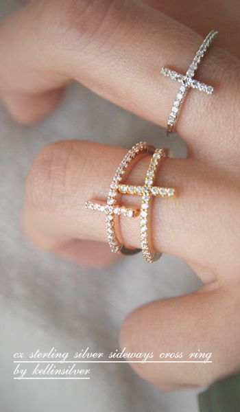 $36 CZ Sideways Cross Rings Sterling Silver at Kellinsilver.com – silver cross rings, silver cross jewelry, sideways cross ring as ETSY - I love this! They look so pretty stacked, too!! Both gold & silver are so cute!