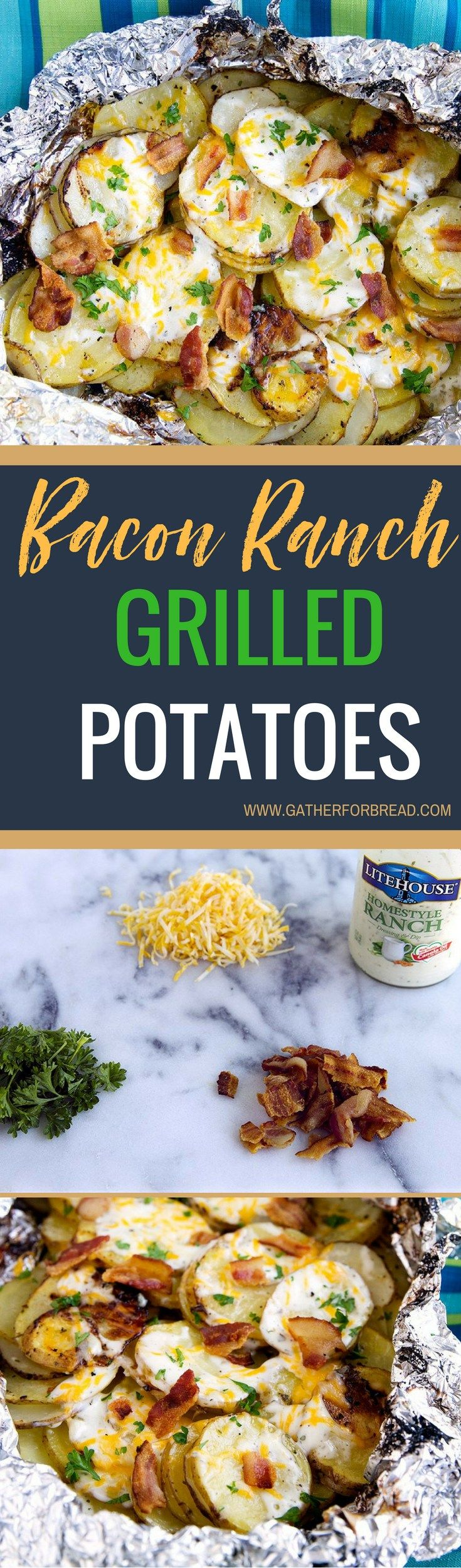 Bacon Ranch Grilled Potatoes - Sliced potatoes flavored with real Ranch dressing, bacon and cheese for an ultimate summer grilled side dish. Everyone will want to come to your place for dinner with th