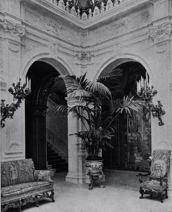 Above is a photo of the Entrance Hall in the John Jacob Astor IV Mansion in New York City. The Mansion had been built by Richard Morris Hunt for John's mother, Caroline, Queen of New York City Society, as a double palace for her and her son. When she died in 1908, John had the mansion converted into one massive residence. The mansion was demolished around 1926 and replaced with the Temple Emanu-El, New York City's largest synagogue.