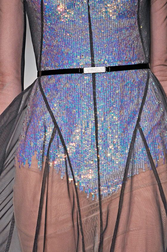 Silver Zodiac sequin maillot under a sheer tulle dress