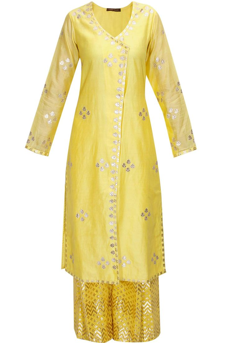 Yellow and pale blue gota patti work kurta set by Amrita Thakur Shop now:http://www.perniaspopupshop.com/designers/amrita-thakur #shopnow #amritathakur #perniaspopupshop